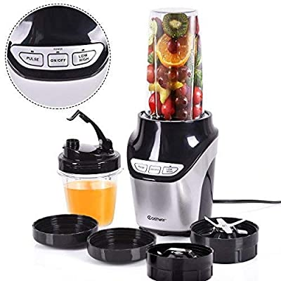 Costway Smoothie Blender/Food Processor 1000W 2-Speed Portable Professional Personal Single Serve Countertop Kitchen Household Juice Fruit Vegetable Mixer System