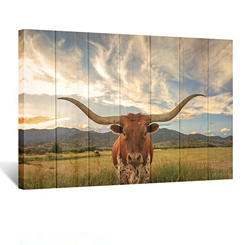 Kreative Arts Large Modern Canvas Wall Art for Home and Office Decoration Animal Pictures Print Art on Canvas Texas Longhorn Canvas Prints Giclee Artwork for Wall (Wood Style (Texas Longhorns Framed)