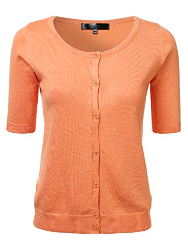 Womens Button Down Fitted Short Sleeve Fine Knit Top Cardigan Sweater LIGHTORANGE L by FLORIA (Image #4)