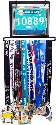 Race Bib and Marathon Medal Display - Wall Mounted Runners Medal Holder w/ 10 Flip Pouches by LISH (Black) (Medal Display Bib Runner)