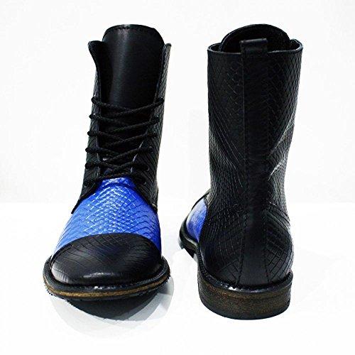 Modello Cinisello Balsamo - Handmade Italiano Da Uomo In Pelle Blu Stivali alti - Vacchetta Pelle in rilievo - Allacciare