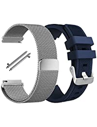 Band for Samsung Gear S3 Frontier Classic, AFUNTA Stainless Steel Magnetic Loop Bracelet with Silicone Wristband Strap for S3 Smart Watch