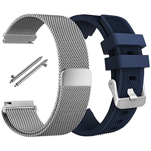 Wristband Compatible Gear S3 Frontier S3 Classic, AFUNTA Flexible Stainless Steel Magnetic Loop Bracelet with Silicone Wristband Strap Replacement Compatible Sport Smart Watch - Silver, Blue