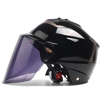 ZCXCC Motocicletas Cascos Hombres Y Mujeres Vehículos Eléctricos Mitad De Cascos Verano Protección Solar Protección UV Sombreros Duros,Black: Amazon.es: ...