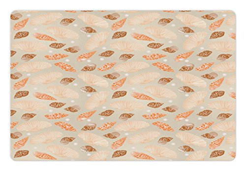 Lunarable Pearls Pet Mat for Food and Water, Pattern with Pearls Seashells and Oysters Natural Marine Life Beach Theme Image, Rectangle Non-Slip Rubber Mat for Dogs and Cats, Tan and Peach by Lunarable