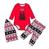 FEDULK Family Matching Sleepwear Christmas Deer Print Xmas Holiday Pajamas Pjs Sets(Red2, Kid-90)