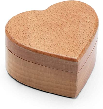 VOVOVOL - Caja de madera para anillos de boda, San Valentín, compromiso, hecha a mano, rústico, caja para anillos de boda, caja personalizada, color nogal B: Amazon.es: Hogar