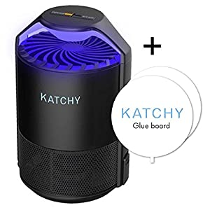 KATCHY Electric Insect Trap: Indoor Bug, Fly and Mosquito Trap – UV Light, Fan and Glue Board Combo Traps Even the Tiniest Flying Insects – No Zapper – Child-Safe, Non-Toxic