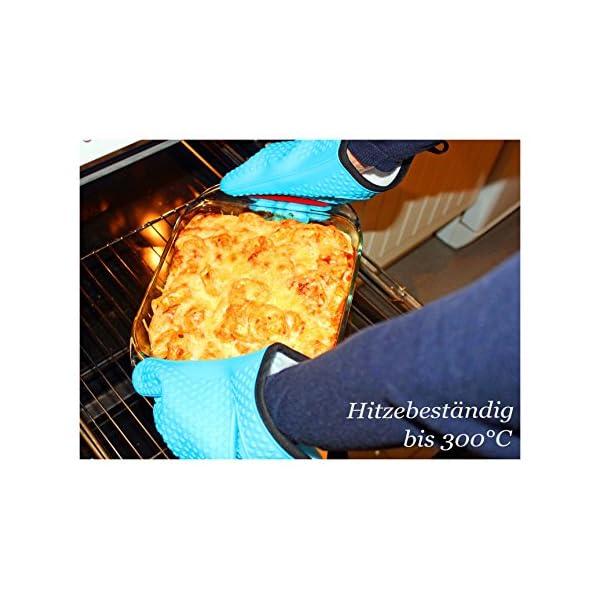BBeeQ® - Set di due guanti da forno in silicone e cotone, in 7colori, resistenti al calore fino a 300°C, per grigliare, cucinare, mettere in forno. Guanti da cucina, guanti per barbecue., Blau 2 spesavip