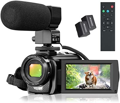 """Video Camera Camcorder, FHD 1080P 30FPS 24MP YouTube Vlogging Camera, 3.0"""" Rotation Screen,16X Digital Zoom Video Camcorder with Microphone, Remote Control, 2 Batteries"""