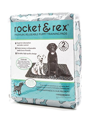 Washable Pee Pads for Dogs. 2-Pack, Large (30x36). For Housebreaking, Incontinence, Training, Travel. Reusable, Waterproof & Fast Absorbing. Great for Bed Wetting, Mattress Protection. By rocket & rex