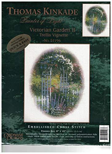 Thomas Kinkade Painter of Light Victorian Garden II Trellis Vignette Cross Stitch Kit ()