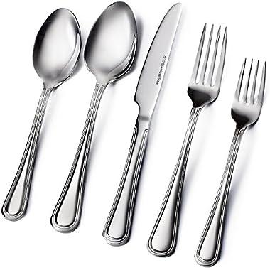 Sagler 20-Piece Flatware Set, 18/10 Stainless Steel silverware sets Set for 4 High-Quality flatware sets
