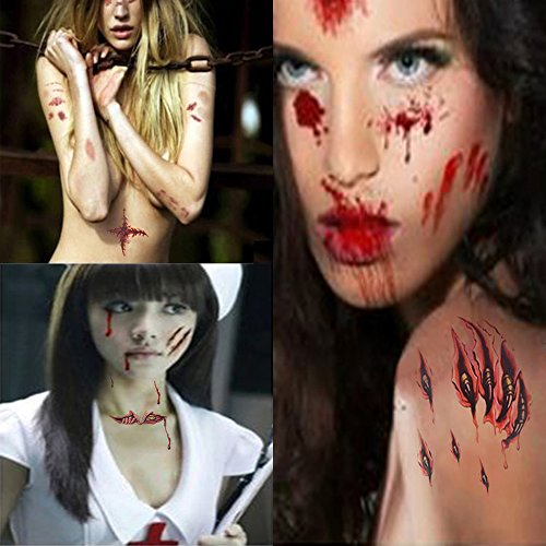 Scars Tattoos,Halloween Zombie Scars Tattoos 6 Pack 3D Waterproof Temporary Terror Wound Blood Injury Scar Fake Tattoos for Halloween Makeup and Party Cosplay by Jarvania
