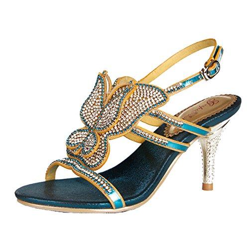 mujer Win8Fong de 2 Blue Zapatos tacón at1wtTqx