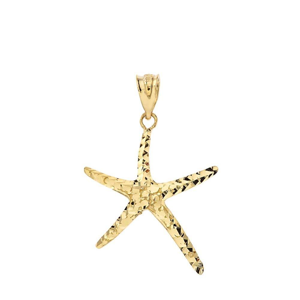 Fine 14k Gold Sparkle-Cut Starfish Charm Pendant Necklace