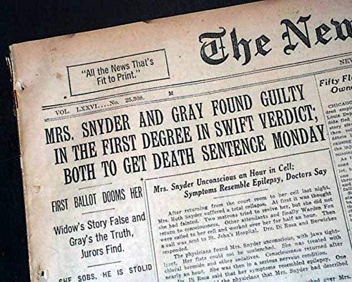 Amazon com: RUTH SNYDER & Judd Gray Murder GUILTY Verdict