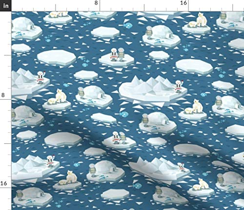 Geometric Arctic Fabric - Geobear Geoigloo Geochukchi Nursery Bear Igloo Snow Children Iceberg Decor Art Print on Fabric by The Yard - Sport Lycra for Swimwear Performance Leggings Apparel Fashion