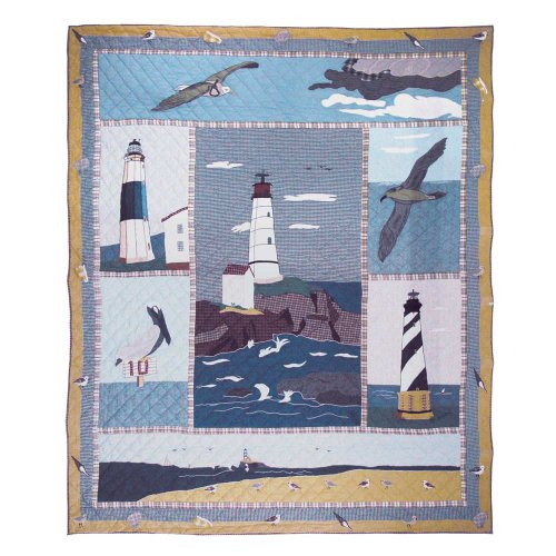 Patch Magic King Lighthouse by Bay Quilt, 105-Inch by 95-Inch