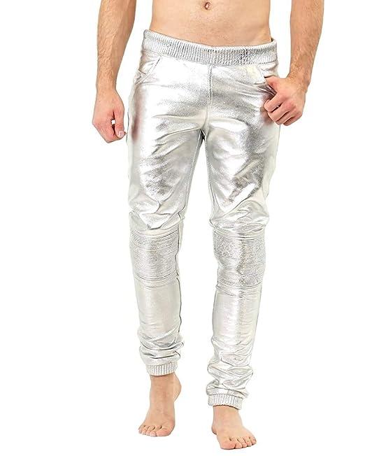 Bockle® Boyjog Silver Pantalones de chándal de Cuero Plateado para ...