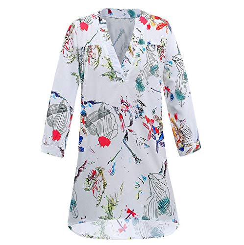 - LISTHA Vintage Floral V-Neck Tunic Tops Plus Size Women Summer Loose Blouse