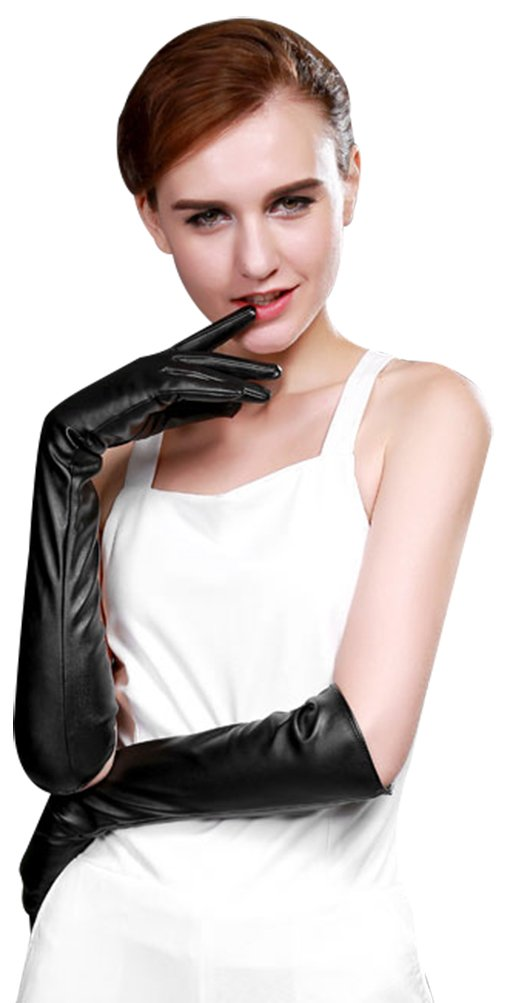 Bellady Womens Thin Opera Long Evening Dress Texting Touchscreen Leather Gloves,Black-thin