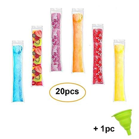 Bolsas desechables para polos de hielo, bolsas de golosinas de hielo con cierre, bolsas de batidos de hielo, 20pcs with 1pc funnel