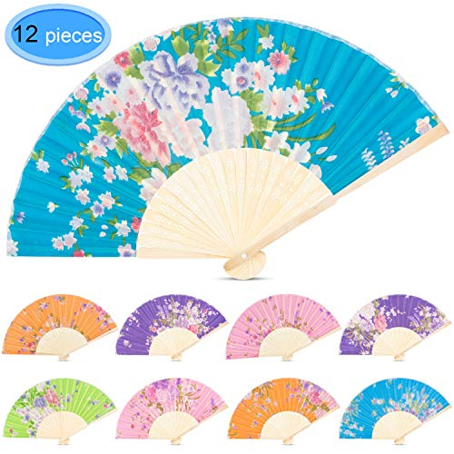 (EAONE 12 Pcs Hand Folding Fan, Silk Floral Folding Fan, Vintage Handheld Fan, Chinese Style Fabric Folding Fan with Bamboo Rib for Wedding Dancing Party(Random Color))