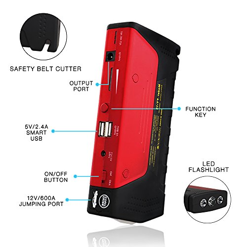 Car Jump Starter 600A Peak Up to 6.0L Gas or 4.5L Diesel Engine Tire Inflator Premium Portable Phone Power Bank Auto Battery Charger Pack Booster with Dual Quick Charge Output Built in LED Light & USB by fustrong (Image #2)