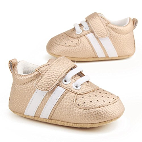 Xshuai Heißer Verkauf Antibeleg-Kleinkind-Mädchen-Jungen-Krippe-Schuhe Prewalker-weiche alleinige Turnschuhe Gold