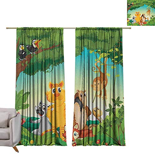 - berrly Grommet Top Drapes Zoo,Forest Scene with Different Animals Habitat Jungle Tropical Environment Kids Cartoon, Multicolor W108 x L84 Living Room Drapes