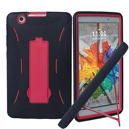 LG G Pad X 8.0 V521 Case, {NFW} Premium Hybrid Drop Proof Armor Defender Full-body Protection Heavy Duty Kickstand Case for LG G Pad X 8.0 V521/G Pad III 8.0 V525 2016 (T-Mobile) (HVD Black/Red)