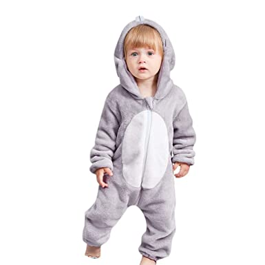 769da1eecf1a8 Boys Girls Unisex Rompers, Weant Newborn Infant Toddler Baby Cute Cartoon  Animal Hooded Flannel Thick