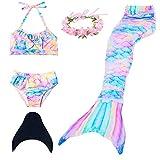 Mermaid Tail Swimmable Princess Bikini Set Swimsuit Costume for Girls (120(4-5Y), Rainbow)