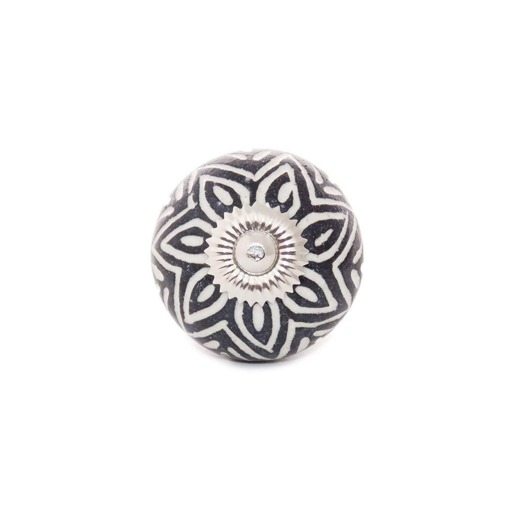 Eyes of India Set of 2 Negro Puerta C/ómoda Armario Cer/ámica Pomos Tiradores Shabby Chic Decorativo de Colores Boho Bohemio Negro #1