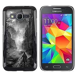 Caucho caso de Shell duro de la cubierta de accesorios de protección BY RAYDREAMMM - Samsung Galaxy Core Prime SM-G360 - Black White Painting Castle Vampire
