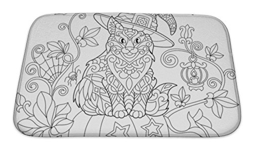 Gear New Bath Mat For Bathroom, Memory Foam Non Slip, Coloring Page Of Cat In A Hat Sitting On A Halloween Pumpkin Flying Bats Spider, 24x17, (Scary Halloween Pumpkins Coloring Pages)