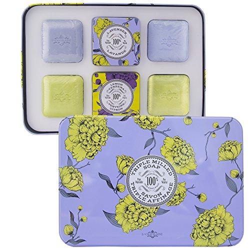 (La Chatelaine Luxury Travel Soap Gift Set, Shea Butter, Triple Milled French Soaps 2 Lavender Soaps 2 Lemon Verbena Soaps 2 Elegant Travel Tins 100% Pure Vegetable Based, 4 x 3.5 oz (100g))