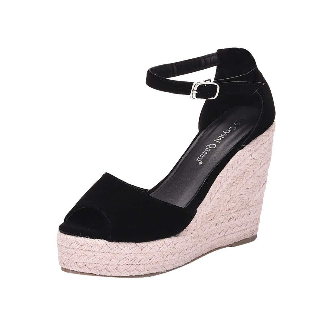 SSYUNO Womens Summer Bohemian Espadrille Platform Wedge Sandals Ankle Strap Open Toe Beach Dress Comfy Shoes Black by SSYUNO