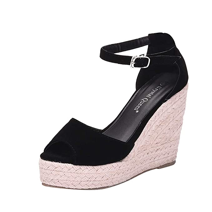 5d935d8e Sandalias de Mujer Plataforma,JiaMeng Moda Polaco Dull Costura Peep Toe  Cuñas Hasp Sandalias Zapatos Flatform Sandalias Mujer Cuña Alpargatas  Plataforma: ...