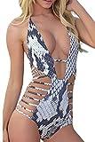 Carprinass Women's Sexy One Piece Monokini Bandage Plunge Swimsuit Swimwear