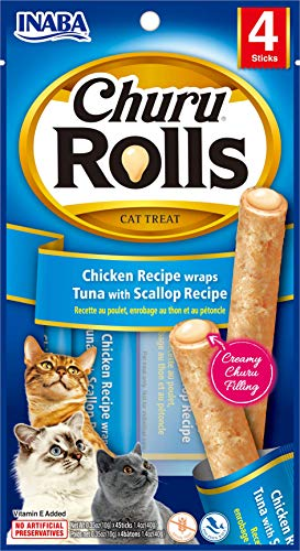 INABA Churu Rolls - Soft Baked Chicken Filled with Churu Tuna with Scallop Puree - Natural Cat Treat (4 Sticks)
