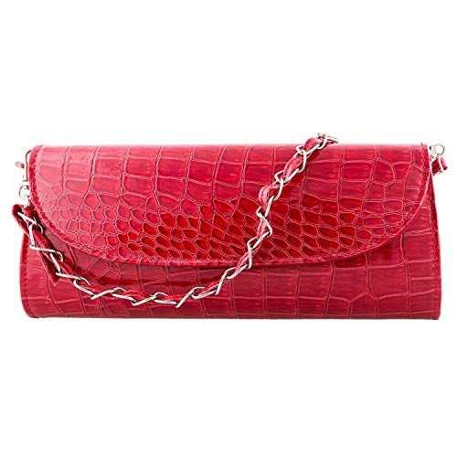 Bundle Monster Womens Envelope Evening Patent Croc Skin Embossed Clutch - RED ()