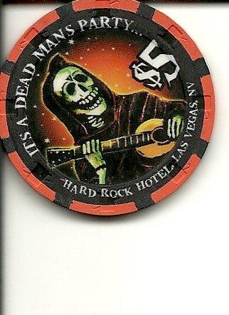 $5 hard rock 1998 halloween obsolete las vegas casino chip