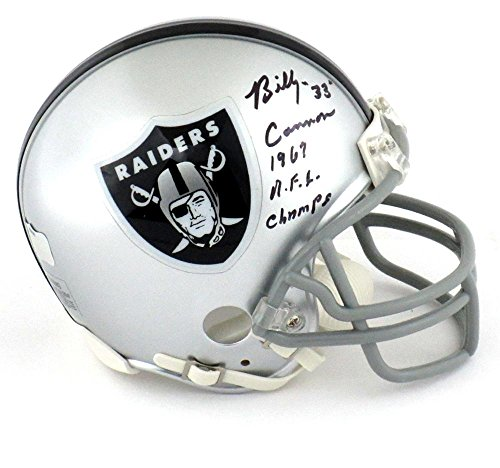 """Billy Cannon Signed Oakland Raiders Riddell NFL Mini Helmet with """"1967 AFL Champs"""" Inscription - Autographed NFL Mini Helmets"""