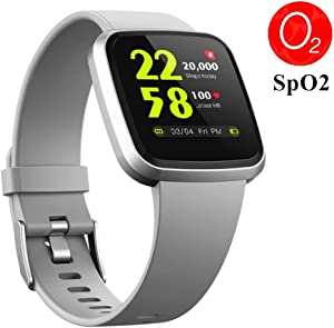 V12 Fitness & Health Smartwatch with Activity Tracker 24/7 Heart Rate Monitor Blood Oxygen Spo2 Scientific Sleep Monitor IP68 Waterproof Exercise Sports Pedometer Watch for Running Walking (Grey)