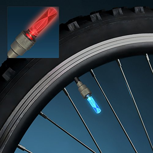Flashing Valve LED Bicycle Lights for Tires (Set of 12 Pa...