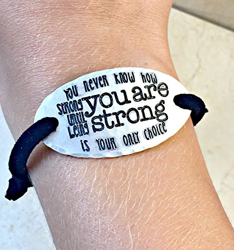 Bob Marley Fighter (Hand Stamped Aluminum & Leather Bracelet - You Never Know How Strong You Are Until Being Strong Is Your Only Choice)