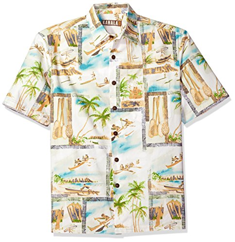 Kahala Men's Diamond Head Surf by John Severson Relaxed Fit Hawaiian Shirt, Blue, - Kahala Hawaii Map