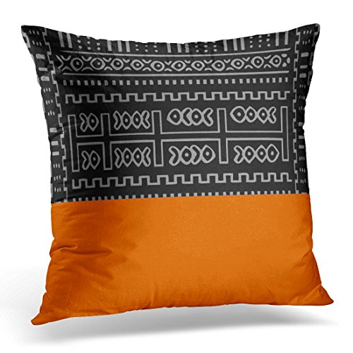 VANMI Throw Pillow Cover Orange Geometric Abstract Pattern Tribal Decorative Pillow Case Home Decor Square 16x16 Inches Pillowcase